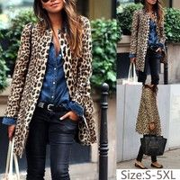 Wish | Women Leopard Sexy Winter Warm New Wind Coat Cardigan Leopard Print Fashion Casual Long Coat Plus Size Clothing Coat S-5XL