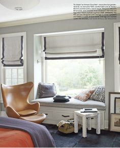 Roman Shade trimmed in gray ribbon