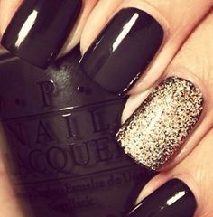 Love that shimmery sparkle! Black and gold! thenaileditbox.com