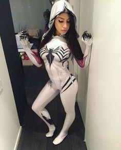 Anti Gwenom Costume Print Gwen Stacy Venom Gwen Costume White Anti Gwenom Girl Cosplay Symbiote Spiderman Suit, No Lenses Amazing Cosplay, Best Cosplay, Cosplay 2016, Female Cosplay, Marvel Dc, Marvel Comics, Cosplay Marvel, Anime Cosplay, Superhero Cosplay