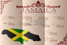 Jamaica, infografías, datos estadísticos, de las vistas. Ilustración vectorial