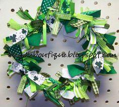 St. Patrick's Day Green Shamrock Ribbon Wreath