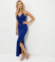 Blue Wrap Front Split Side Maxi Dress    New Look