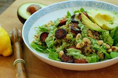 Nutmegs, seven: Very green quinoa salad with avocado, seared chorizo and toasted almonds