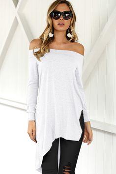 744f6f4c747aa3 Women White Off Shoulder Long Sleeve Asymmetric Hem Casual Tunic Top - L