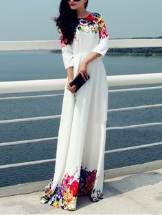 Multicolor Round Neck Floral Maxi Dress -SheIn(abaday)