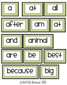 wow--  free-DOLCH  pre primer thru second grade----Bright Dots Word Wall Words