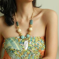 Ethnic turquoise necklace carved bone by osofreejewellery on Etsy