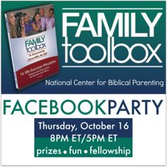 Join the fun on Thursday Oct. 16th! Win prizes and enjoy learning about the Family Toolbox, the great new video resource for parents and teens! Biblical, practical, and encouraging! Ideas you can use today.