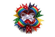 Rainbow+Hairbow+3+stacked+hairbow+in+by+TheSweetBCollection,+$7.49