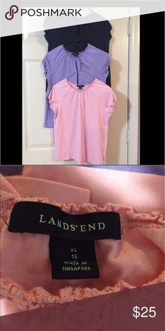 ☂️🆕 Land's End Bundle EUC pink, black, purple Land's End cropped elastic sleeve girl's tops.  100% cotton. 🐶🚭 Land's End Shirts & Tops Blouses
