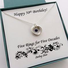 50th Birthday Necklace | Sterling Silver 50th Birthstone Gift