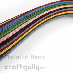A pack of quilling paper strips of 3mm width in assorted metallic colors.