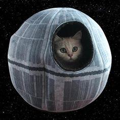 만약 '스타워즈(Star Wars)'의 열렬한 팬인 고양이 집사가 있다면 이 물건에 눈길이 갈 것 같네요. 바로 '데스 스타(Death Star)'의 디자인에 영감을 얻은 '데스 스타 펫 케이브(Death Star Pet Cave)'입니다.  이 독특한 펫 케이브는 영화에서의 무시무시한 모습은 찾을 수 없는 귀여운 모습을 하고 있는 것이 특징 입니다. 안쪽에서 얼굴을 빼꼼 내밀 수 있는 것은 물론이고, 푹신푹신한 재질은 당신의 애완동물에게 아늑한 공간을 선사해 준다고 합니다.