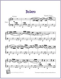 Boléro (Ravel) | Free Sheet Music for Piano - http://makingmusicfun.net/htm/f_printit_free_printable_sheet_music/bolero-piano.htm