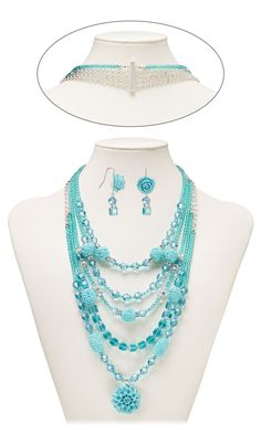 Jewelry Design - Multi-Strand Necklace and Earring Set with Resin Beads and Embellishment, Swarovski Crystal and Czech Glass Beads - Fire Mountain Gems and Beads