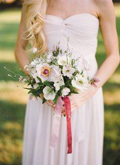 pink + green bouquet with velvet ribbons   Ali Harper #wedding