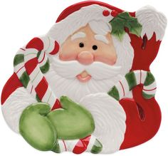 Fitz and Floyd® Regal Holiday Candy Cane Santa 10-Inch Canape Plate
