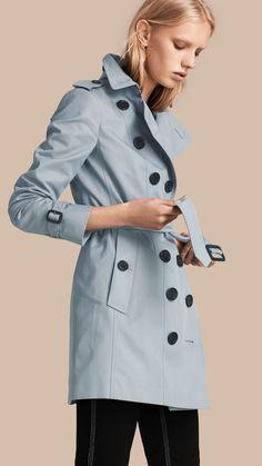 Cotton Gabardine Trench Coat Pale Sky Blue | Burberry