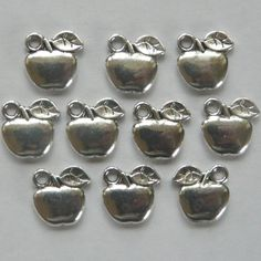 15 Silver Plated Apple Charms 11mm €1.50 #craftfest
