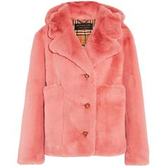 Burberry Faux fur jacket (98.845 RUB) ❤ liked on Polyvore featuring outerwear, jackets, burberry, red checkered jacket, lapel jacket, pink sports jacket, sports jacket and checkered jacket