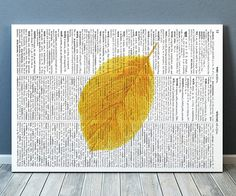 Gorgeous Leaf poster for your home and office. Amazing Fall leaf decor. Adorable Watercolor print. Pretty modern Dictionary print.    SIZES: A4