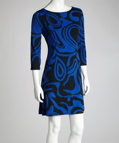 Take a look at this Blue & White Swirl Dress by Modern Touch on #zulily today!