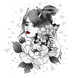Beautiful geisha with a fan in her hand Premium Vector Asian Tattoo Girl, Japanese Girl Tattoo, Girl Face Tattoo, Asian Tattoos, Japanese Tattoo Designs, Girl Tattoos, Geisha, Catrina Tattoo, Japan Tattoo