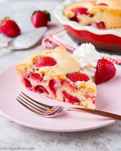 This easy 4 ingredient fresh strawberry cake is delicious and loaded with chunks of strawberries in every bite!