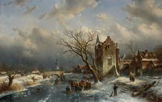 Charles Leickert, WINTER LANDSCAPE WITH A VILLAGE, Auction 929 Old Masters, Lot 1553