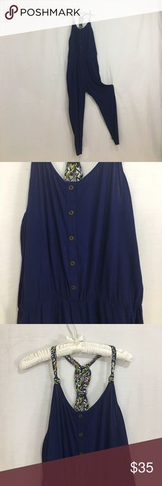 0603a8d280 Dark blue braided racerback jumpsuit romper NWOT. Never worn. Size large.  Materials in