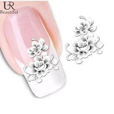 1 лист красивая ногтей Совет вода трансферы наклейка стикера Белый цветок воды…