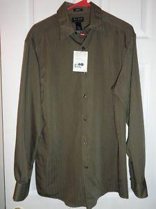 $17.95 New Mens Axcess Classic Fit Green Button Down Stripe Shirt Size: Medium
