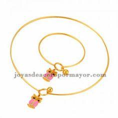 juego collar y pulsera de dije buho lindo con piedra rosado en acero dorado…