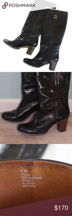 "Frye Black Leather Riding Boots These boots are in great condition! Gently used, only signs of wear are on the bottom soles. They are beautiful! All leather. Heel is 2 1/2"" Frye Shoes Heeled Boots"