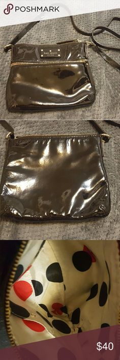 Black Kate Spade purse Black patent leather Kate Spade Crossbody No wear or cracks on straps Clean inside except a few pen marks kate spade Bags Crossbody Bags