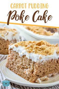 Carrot pudding poke cake is a carrot cake poked with vanilla pudding and topped with whipped cream and sprinkled with graham crackers. Pudding Poke Cake, Pudding Desserts, Carrot Pudding, Poke Cake Recipes, Poke Cakes, Dessert Recipes, Dump Cakes, Great Desserts, Party Desserts