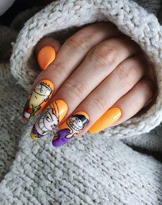 Gold Nail Art, Bling Acrylic Nails, Cute Nail Art, Cute Acrylic Nails, Cute Nails, Gel Nails, Cartoon Nail Designs, Cute Nail Designs, Cherry Nails