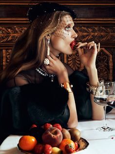 "Thanksgiving Dinner a la Vogue. Malgosia Bela in ""Chic Ultimate"" Photographed By Lachlan Bailey"