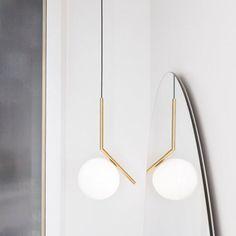 Brass pendant lamp IC LIGHTS S1 by FLOS design Michael Anastassiades @floslighting