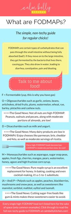 Need a quick guide to FODMAPs? If friends and family are asking for a simple explanation, share this graphic with them. It explains why FODMAPs cause digestive problems, especially in people with IBS, and lists common high-FODMAP foods. Click through to read the full non-techy guide to FODMAPs for regular chicks at www.calmbellykitchen.com