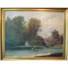Beautiful century folk art oil painting on canvas titled The Ford by WM Daly. The painting depicts a nature scene with large trees, a river, an Country Landscaping, Nature Scenes, Oil Painting On Canvas, Art World, Cattle, 18th Century, Landscape Paintings, Folk Art, Victorian