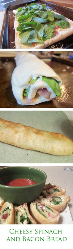 Cheesy Spinach and Bacon Bread-Uses crescent roll dough to make an easy appetizer.