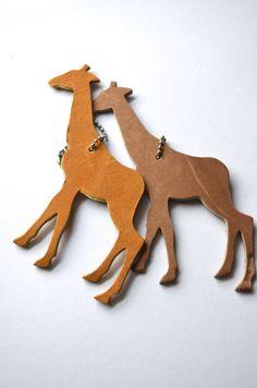 Giraffe Leather Luggage Tag
