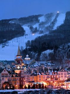 """anywhere in Quebec, Canada. Mont Tremblant, Quebec, Canada The """"other"""" part of Canada Places Around The World, Oh The Places You'll Go, Places To Travel, Places To Visit, Vacation Destinations, Dream Vacations, Vacation Spots, Winter Vacations, Vacation Travel"""