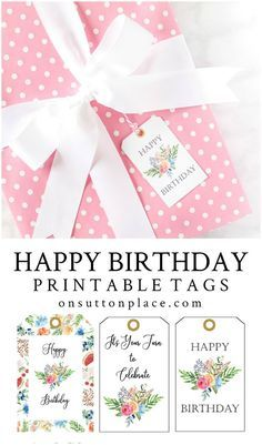 Happy Birthday Free Printable Gift Tags - On Sutton Place Printables - Birthday Birthday Craft Gifts, Happy Birthday Tag, Happy Birthday Printable, Creative Birthday Gifts, Birthday Gift Baskets, Birthday Tags, Best Birthday Gifts, Diy Birthday, Birthday Presents
