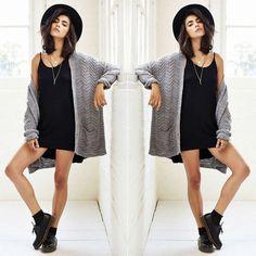 Mini Vestido, Maxi Cardigan #mini #maxicoat #hat