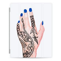 Modern hand painted watercolor hand floral mandala henna tattoo blue... ($50) ❤ liked on Polyvore featuring accessories, tech accessories, ipad cover / case, apple ipad case, ipad cases, apple ipad cover case, ipad sleeve case and ipad cover case