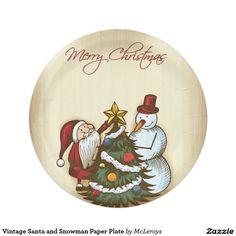 Vintage Santa and Snowman Paper Plate