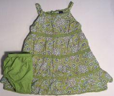 18 24 M BABY GAP Girls Summer Green Floral Lace Sundress Bloomers EUC Dress #BabyGap #DressyEveryday